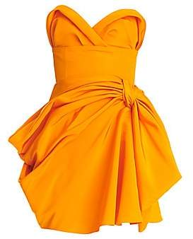 Carolina Herrera Women's Strapless Gathered Silk Mini Dress - Size 0