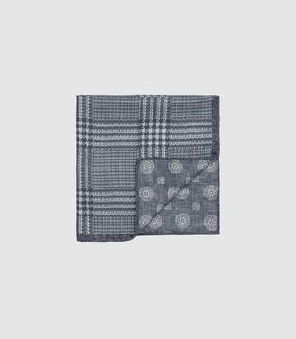 Reiss OWEN DOUBLE SIDED SILK POCKET SQUARE Grey