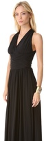 Halston Ruched V Neck Gown