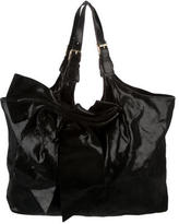 RED Valentino Embossed Suede Nuage Bow Tote