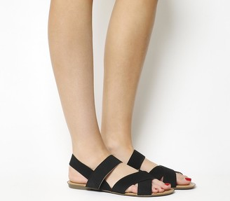Office Skippy Elastic Cross Strap Sandals Black