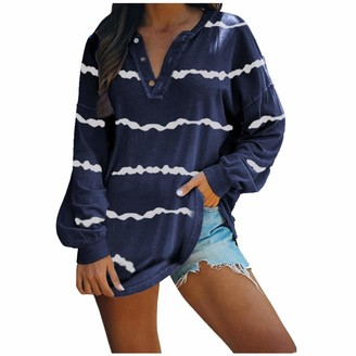 jieGorge Striped Print Loose Blouse Womens Casual Long Sleeve V Neck Button Striped Pullover Blouses Tunic Tops