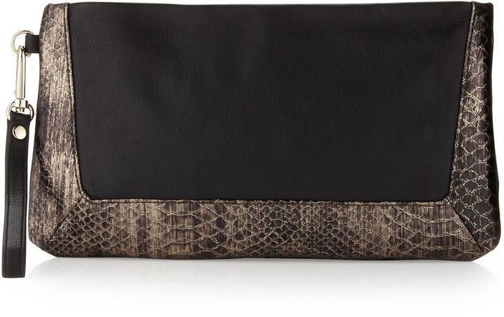Christopher Kon Jordie Python-Matte Leather Clutch, Black/Gold