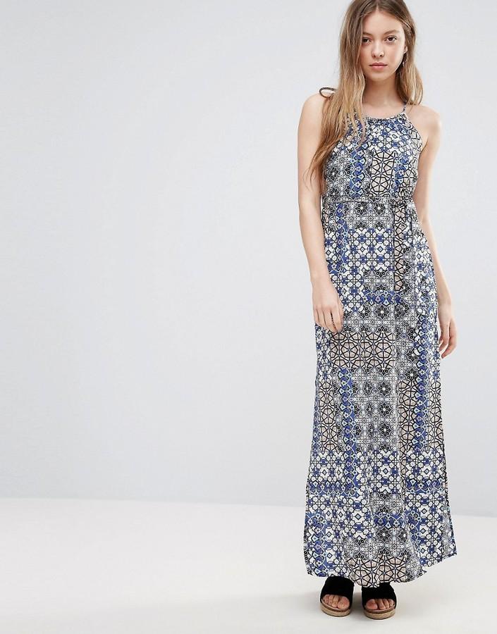 Vero Moda Printed Belted Maxi Dress