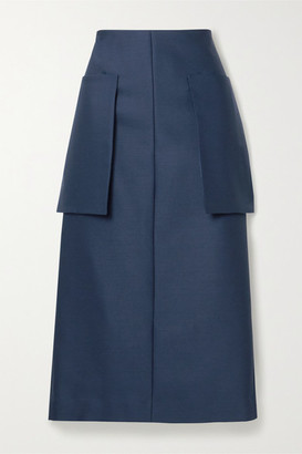 The Row Jenna Wool-blend Midi Skirt - Navy