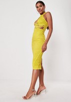 Missguided Yellow Lace Halter Cut Out Side Midi Dress