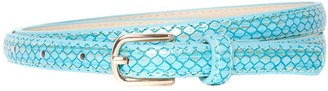 Accessoryo Women's Turquoise & Gold Snakeskin Effect Skinny Belt with Gold Buckle