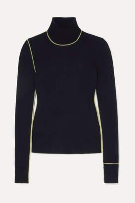 Maison Margiela Embroidered Ribbed Wool Turtleneck Sweater - Navy