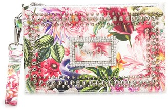 Philipp Plein Studded Floral-Print Clutch