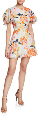 La Maison Talulah Effervescent Floral-Print Tiered-Sleeve Mini Fit-and-Flare Dress