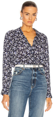 L'Agence Holly Long Sleeve Blouse in Navy & Ivory Butterfly Floral | FWRD