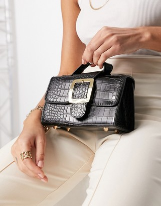 Ego x Molly Mae mini bag with buckle in patent black croc
