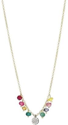 Meira T 14K Yellow Diamond Disc Gold Rainbow Charm Necklace