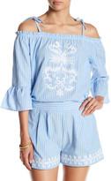 Romeo & Juliet Couture Stripe Cold Shoulder Blouse