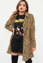 Missguided Brown Leopard Print Belt Trench Coat