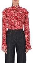 Derek Lam Women's Floral Silk Georgette Ruffle Blouse