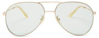 Gucci Aviator Metal Sunglasses - Womens - Green