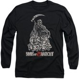 Sons of Anarchy Reaper on Pile of Skulls Adult Long Sleeve T-Shirt Tee
