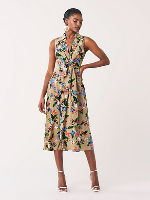 Diane von Furstenberg Von Sleeveless Silk Crepe de Chine Dress