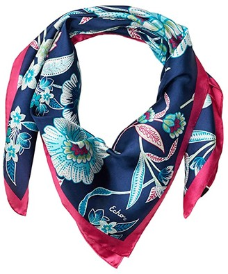 Echo New York Tropical Floral Silk Square (Navy) Scarves