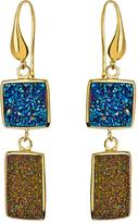 Andara Double Geometric Blue and Peacock Druzy Dangle Earrings