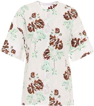 Victoria Beckham Floral cotton-poplin shirt
