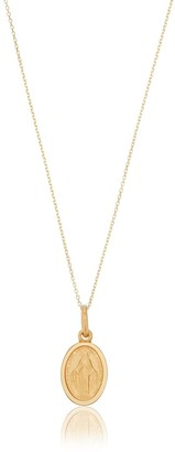 Lily & Roo Small Solid Gold Oval Virgin Mary Necklace