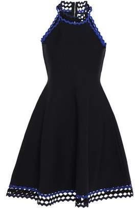 Milly Flared Rick Rack-trimmed Stretch-knit Mini Dress