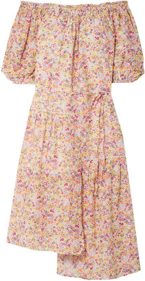 Apiece Apart Asymmetric Off-the-shoulder Floral-print Cotton-blend Voile Midi Dress