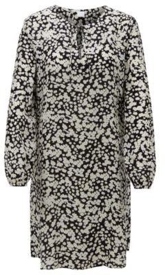 HUGO BOSS Tunic dress in floral-print canvas with keyhole neckline