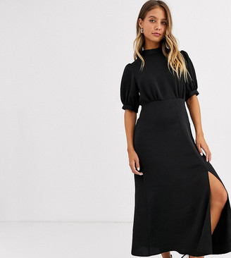 New Look high neck split midi dress in black satin