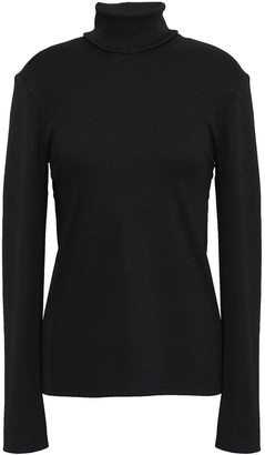 CHRISTOPHER ESBER Cutout Ruched Ribbed-knit Turtleneck Sweater