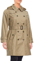 London Fog Plus Hooded Double-Breasted Trench Coat