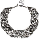 INC International Concepts Hematite-Tone Metallic Pavé Geometric Statement Necklace, Only at Macy's