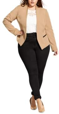 City Chic Plus Size Classy Sassy Open-Front Jacket