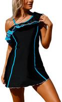 Zesica Women's One Piece Swimsuits Black - Black & Blue Ruffle-Accent Asymmetrical-Top Swimdress - Women