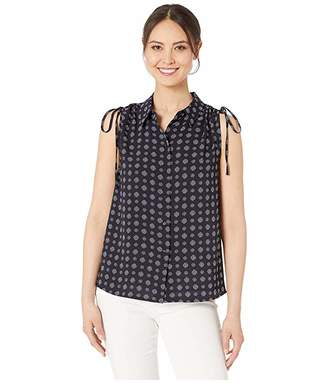 Vince Camuto Sleeveless Drawstring Shoulder Textured Foulard Blouse