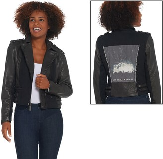 Peace Love World Leather Zip-Front Moto Jacket