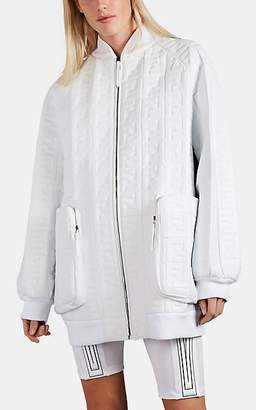 Fendi Women's Logo-Embossed Leather Bomber Jacket - White