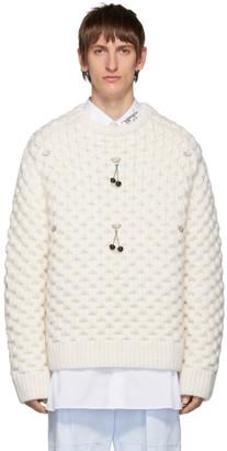Raf Simons White Wool Cherry Honey Stitch Sweater