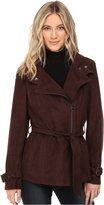Kenneth Cole New York Women's Belted Suede Biker Jacket Outerwear LG
