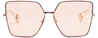 Gucci Oversized Square Tortoiseshell-acetate Sunglasses - Womens - Light Orange