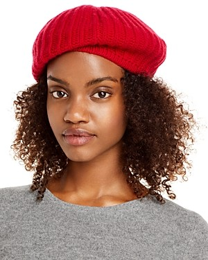 C by Bloomingdale's Rib-Knit Cashmere Beret - 100% Exclusive
