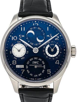 IWC Blue 18K White Gold Portuguese Perpetual Calendar Hemisphere Moon Phase IW5032-03 Men's Wristwatch 44 MM