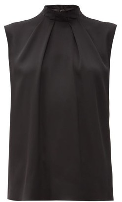 Alexander McQueen High-neck Sleeveless Silk Top - Black