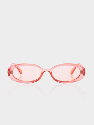 Le Specs Womens Outta Love Oval Sunglasses in Clear Coral