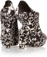 Alaia Printed calf hair cutout-wedge boots