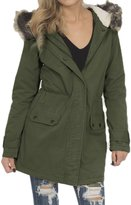 Hot From Hollywood Women's Anorak Parka Jacket with Faux Fur Trim Hood