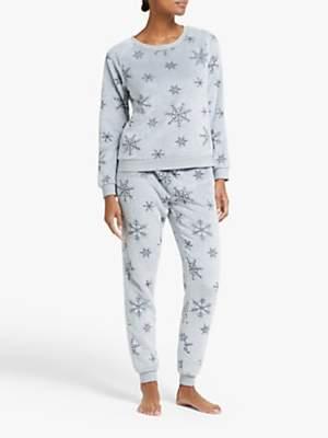 John Lewis & Partners Snowflake Fleece Twosie Pyjama Set, Grey