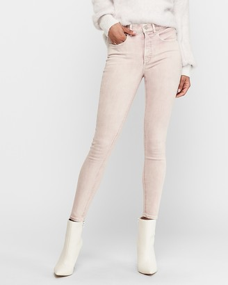 Express High Waisted Denim Perfect Light Pink Ankle Skinny Jeans